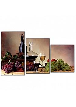 Мини модульная картина Винный натюрморт Toplight 55х94см TL-MM1041